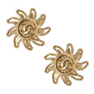 Shop Chanel Vintage Jewellery Online India Chanel Vintage Sundance CC Clip Earrings 1994