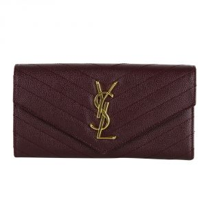 Shop YSL wallets online India My Luxury Bargain Saint Laurent Paris Maroon Leather Monogram Flap Wallet