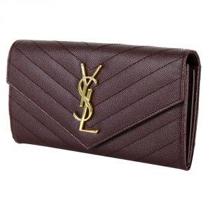 Shop YSL wallets online India My Luxury Bargain Saint Laurent Paris Maroon Leather Monogram Flap Wallet