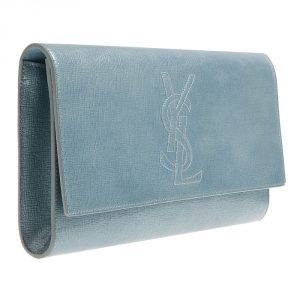Saint Laurent Light Blue Leather Belle De Jour Clutch