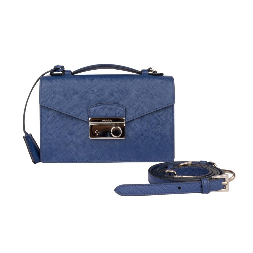 63810eca48f498 Prada Blue Saffiano Verinic Crossbody Bag