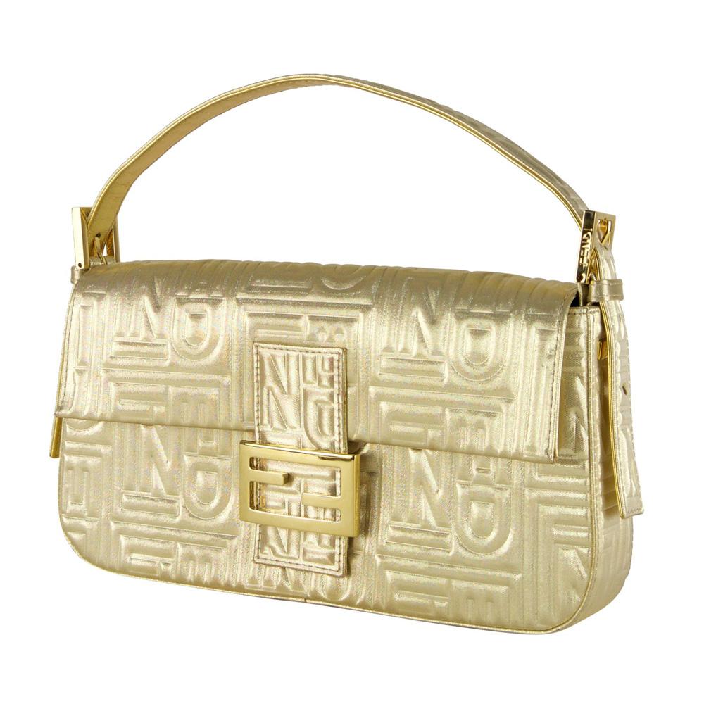 ... tote black fendi bags 5bf08 39cf9  reduced fendi gold metallic embossed  baguette 2e6b6 308f0 0d44cfdb87b74