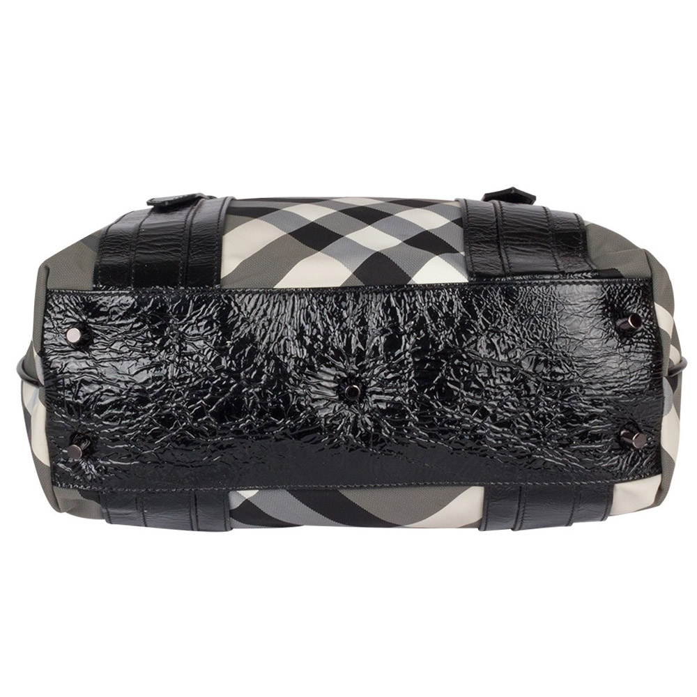 b10b75a9e555 Lyst Burberry Beat Check Nylon And Patent Leather Small Lowry Tote Burberry  Black ...