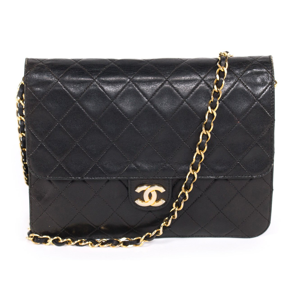 3dd4ccf466 CHANEL VINTAGE BLACK QUILTED LEATHER CLASSIC SQUARE FLAP HANDBAG ...