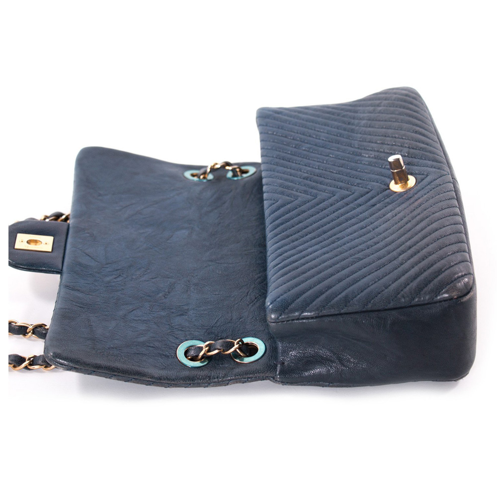 44892bb9d20c CHANEL NAVY BLUE CHEVRON QUILTED LEATHER MEDIUM FLAP .