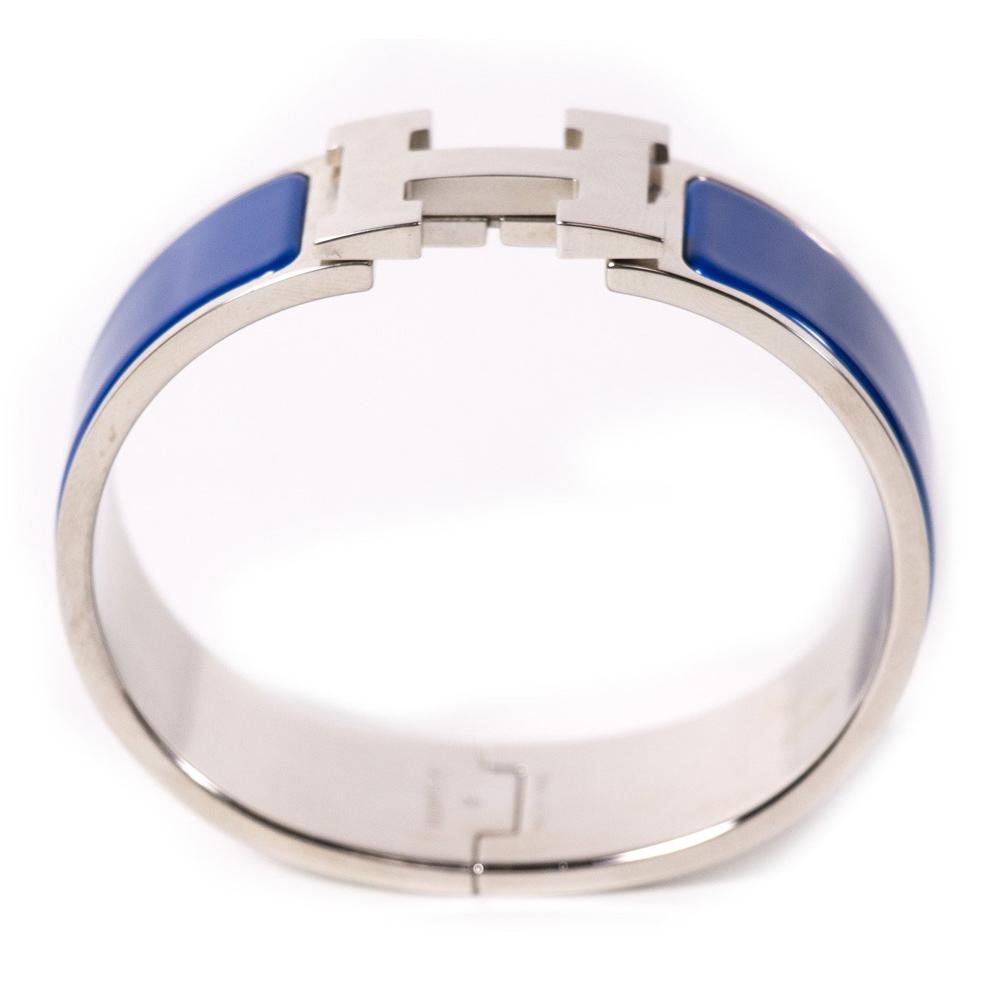 hermes clic clac h wide dark blue enamel bracelet my. Black Bedroom Furniture Sets. Home Design Ideas