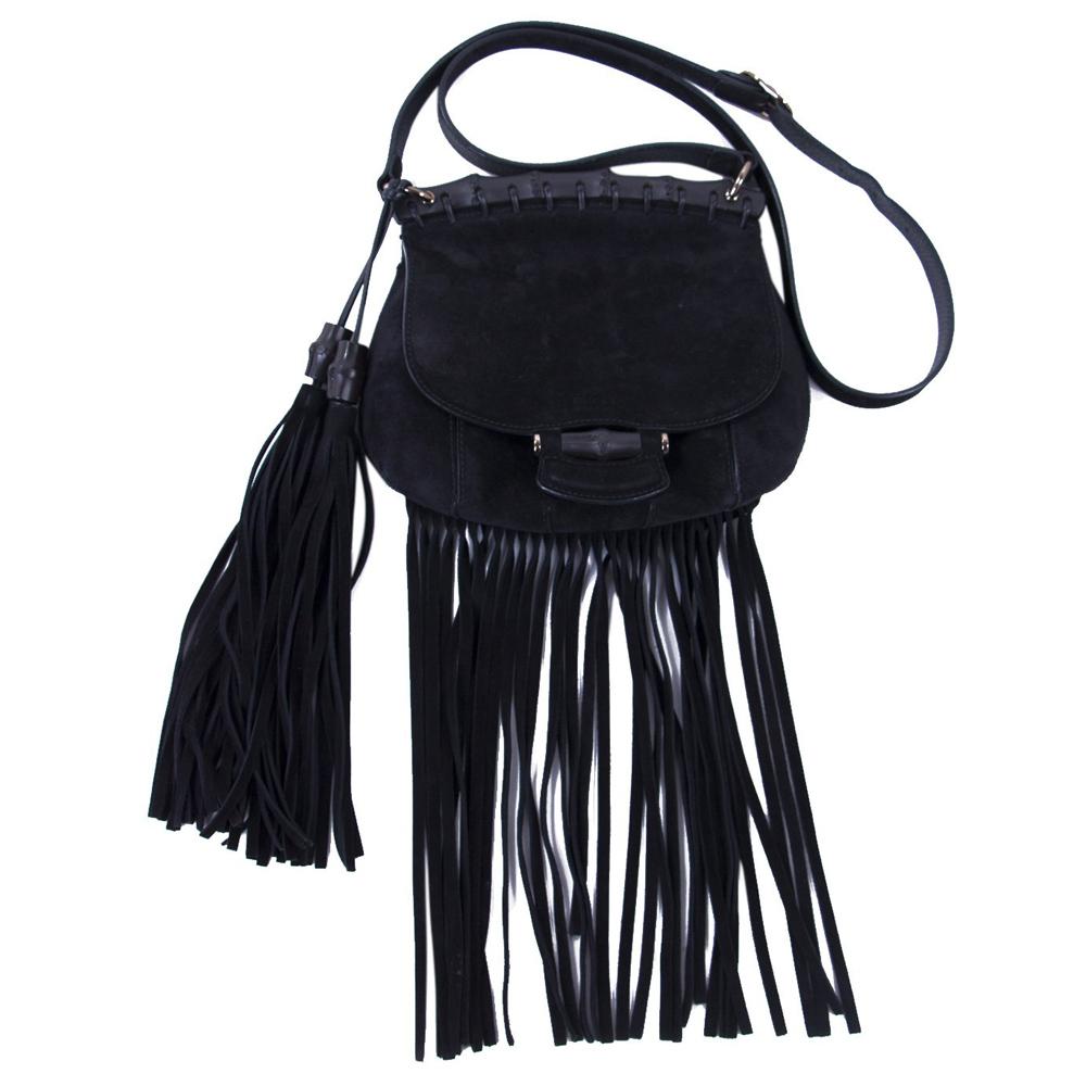 Gucci Black Suede Nouveau Fringe Handbag