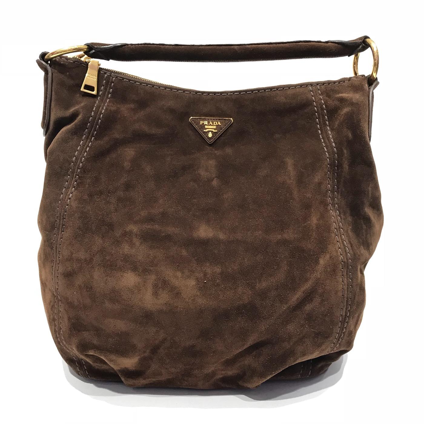 621a07d376ad shop prada brown suede daino hobo handbag 560e3 1de2e